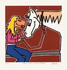 Frau, Pferd, Blonde Mähne